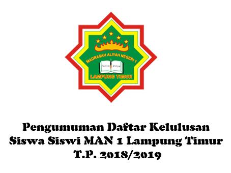 Pengumuman Daftar Kelulusan Siswa Siswi MAN 1 Lampung Timur T.P. 2018/2019
