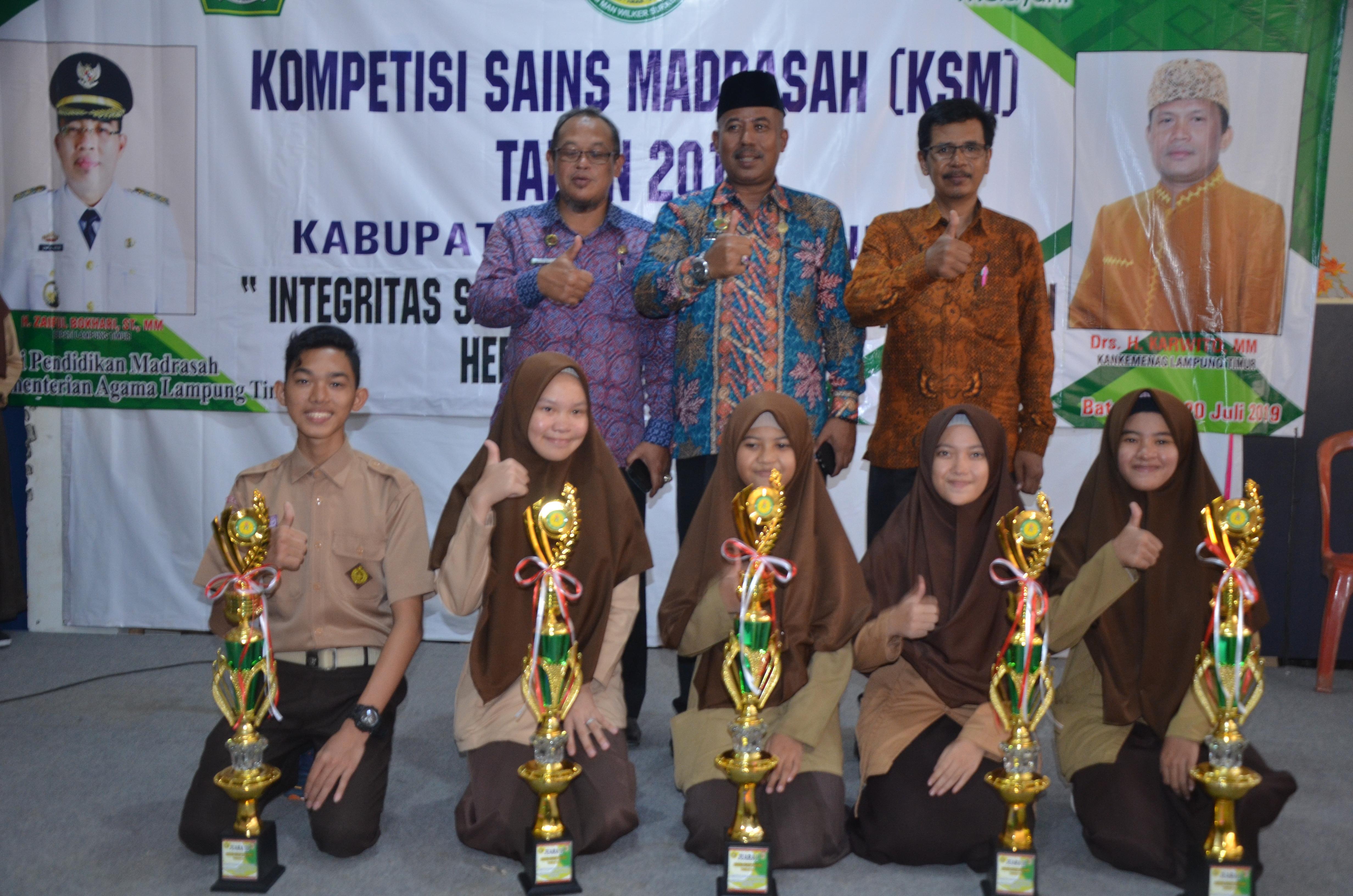 MAN 1 Lampung Timur Meraih 5 Juara Kompetisi Sains Madrasah (KSM) Tahun 2019 Se- Lampung Timur